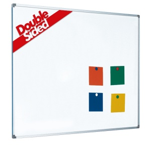 Magnetic coated steel double sided whiteboard with aluminium frame (5yr surface guarantee)