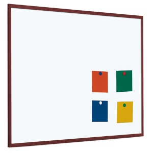 Magnetic coated steel whiteboard with 25mm dark wood frame (5yr surface guarantee)