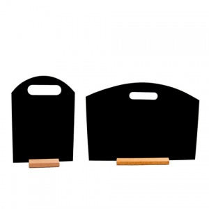 Shaped tabletop chalkboard with beech stand