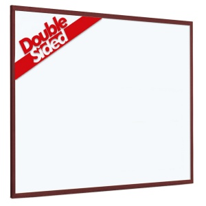 Non-magnetic laminate whiteboard with 25mm dark wood frame (2yr surface guarantee)[1]