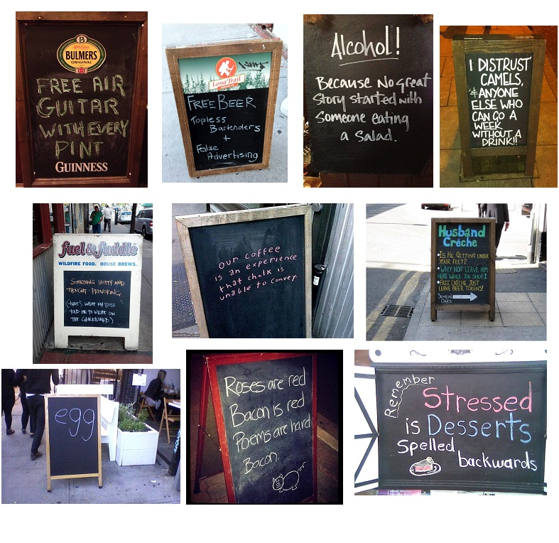 Chalkboards with funny text