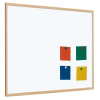 Magnetic coated steel whiteboard with 25mm light wood frame (5yr surface guarantee)
