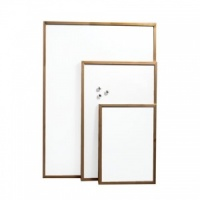 Magnetic whiteboard with pine effect frame